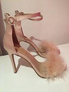 c21e665936f Satin Fluffy Baby Pink Stilettos - Size 7 | eBay