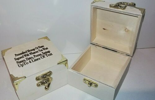 Personalised Keepsake Small Chest Box Laser Engraved With Brass Fittings
