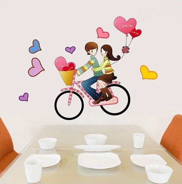Love Couple Bike Riding Heart Balloon Wall Decal Sticker Vinyl Art Home Decor