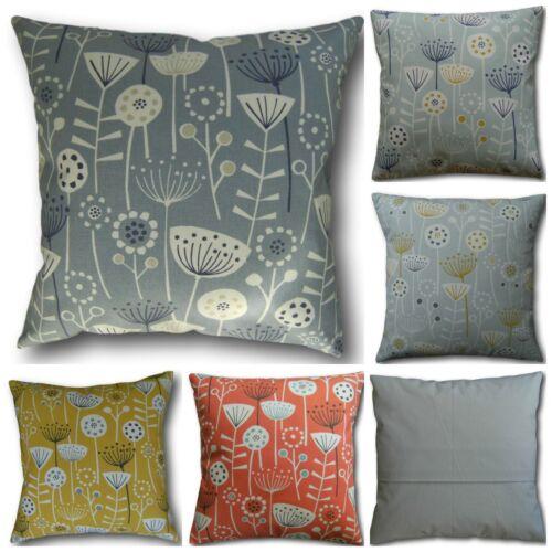 Ochre Yellow Duck Egg Cushion Covers Bergen Blue Orange or Grey Retro Design