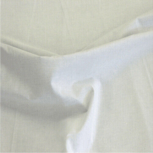 WHITE Cotton Casement Fabric Fire Retardant Sold By The Metre Draping etc