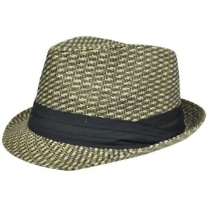 Details about Fedora Ribbon Stetson Gangster FD-185 Woven Brown Straw Hat  Small Medium Pattern 52bed072035