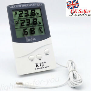 Indoor-Outdoor-Digital-Thermometer-Max-Min-Temperature-Hygrometer-w-Probe