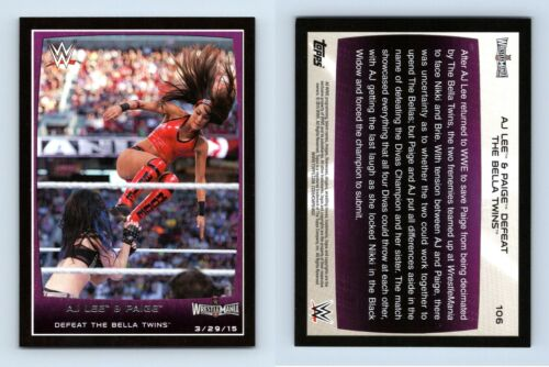AJ Lee /& Paige #106 WWE Road to combat 2015 TOPPS TRADING CARD