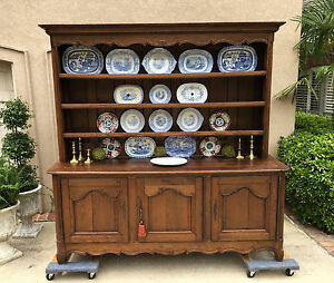 French Country Kitchen Dresser large antique french country carved oak sideboard buffet kitchen