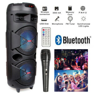 """Dual 6.5"""" Woofer Portable FM Bluetooth Party Speaker Heavy Bass Sound With Mic"""