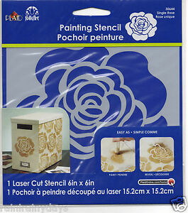 Plaid-Folk-Art-6-034-x-6-034-stencil-Single-Rose-30644-30604-read-description