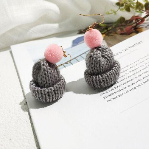 Femmes Nouveauté Père Noël Tricot Chapeau Drop Dangle Earrings 8 C