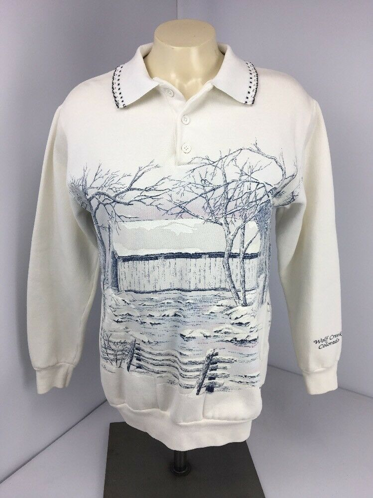 VINTAGE Art Unlimited 1983 Snow Cabin Glitter Collared All Over USA Sweatshirt S