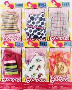 LOT-of-6-Genuine-Mattel-Barbie-Doll-Dolls-Fashion-Clothing-Clothes-Dress-Dresses