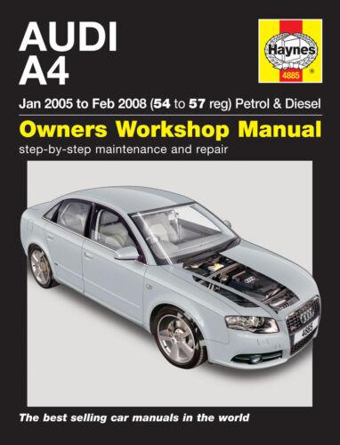 Haynes Manual 4885 Audi A4  B7 Avant 1.8 SE 2.0 Turbo 1.9 /& 2.0 TDi 2005-2008