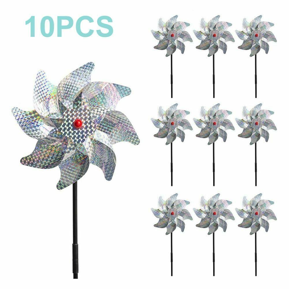 10pcs Bird Repeller Pinwheels Sparkly Windmill Protect Garden Plant Flower Decor