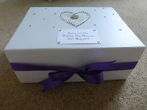 Extra large Wedding Keepsake Box Purple Diamante Memory Box ...