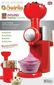 Swirlio Frozen Fruit Dessert Maker with Topping Dispenser, 50 recipes included