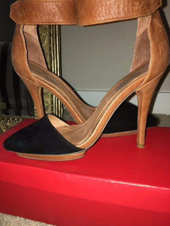 Jeffrey Campbell 7.5 Silhouette 5-6 inch Pumps Black and Tan w  Ankle Strap