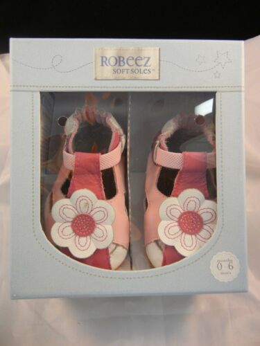Robeez Soft Soles Pretty Pink Pansy HT Pink RL37223 Sizes 0-6 12-18 Months NIB