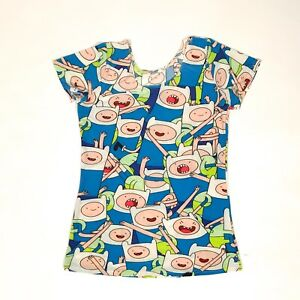 Details about ADVENTURE TIME FINN All over print Women's Stretch Shirt S  EUC Cartoon Network