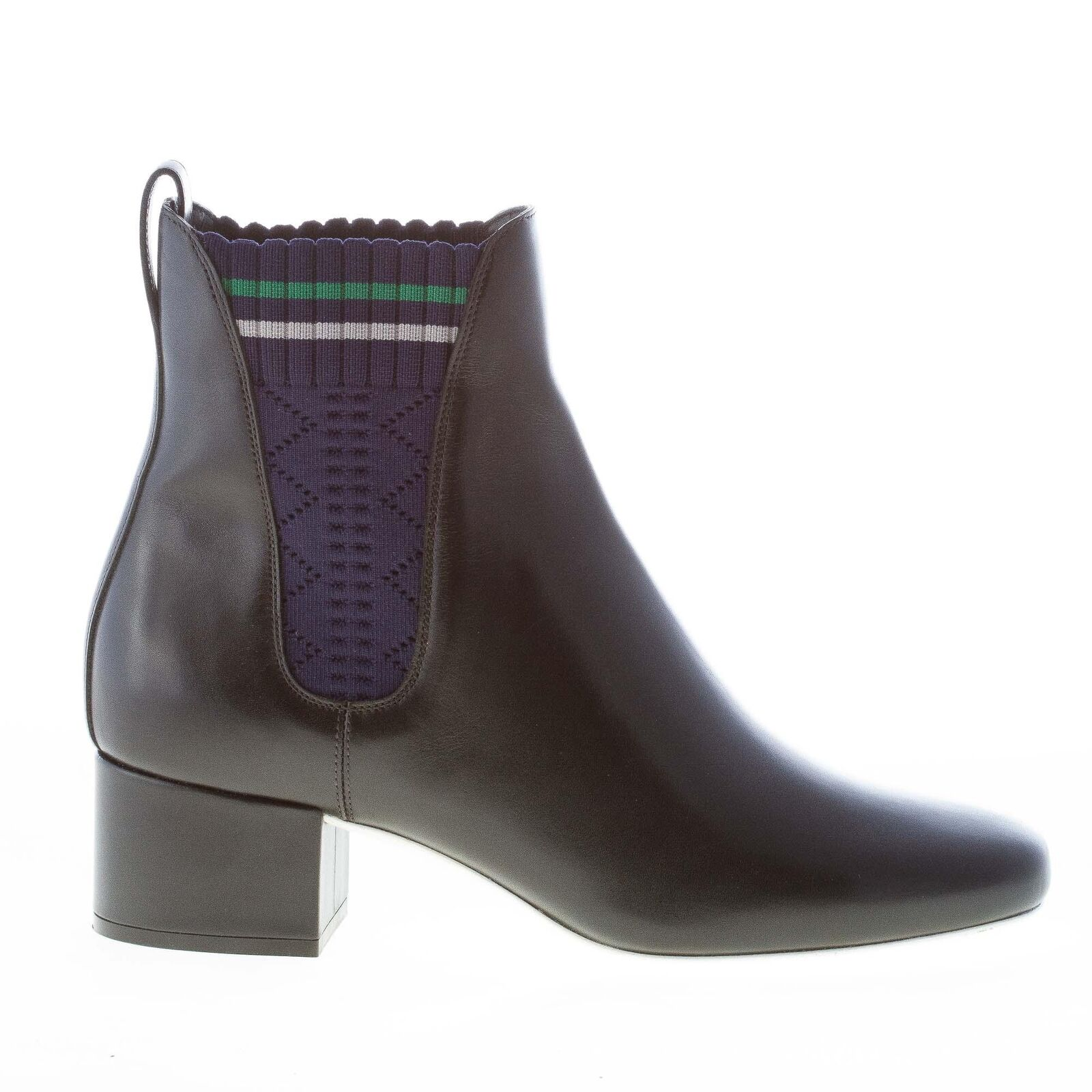 FENDI women shoes Black leather Chelsea boot blue stretch fabric bands 8T6598