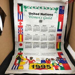 Cloth Linen Calendar 1995 United Nations Womans Guild