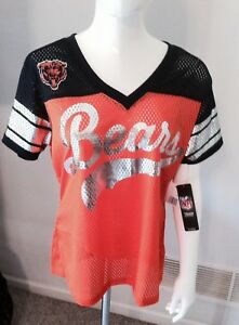 buy popular 58f61 5f284 Details about NWT NFL CHICAGO BEARS WMNS LARGE MESH Football Jersey Fan  LOGO Bear Shirt $49