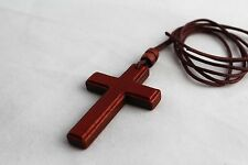 """Christian Wooden Wood Pectoral Cross with 35"""" Rope Cord Necklace -type B"""