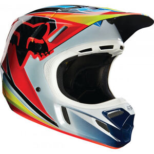 08e529225 FOX V4 RACE MOTOCROSS MX HELMET - BLUE   RED enduro bike mtb bmx ...