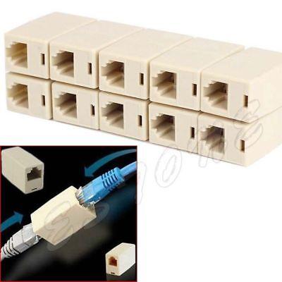 2 x RJ45 CAT5 Coupler Plug Network LAN Cable Extender Connector Adapter Economic