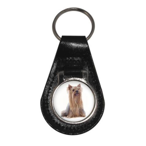 Yorkshire TERRIER DOG immagine PORTACHIAVI IN PELLE NERA IN CONFEZIONE REGALO
