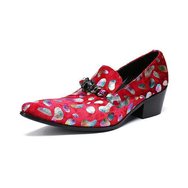 Men Pointy Toe Toe Toe Pointy Toe Floral Graffiti Printing Block Heels Party Formal shoes 93cb4e