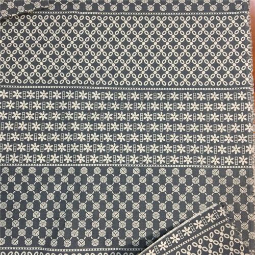 50x150cm Cotton Linen Fabric DIY Craft Material Grey Geometry Flower 8914h E