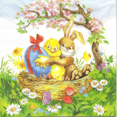 4 Single Paper Napkins for Decoupage Easter Friends Rabbit Chicken Eggs