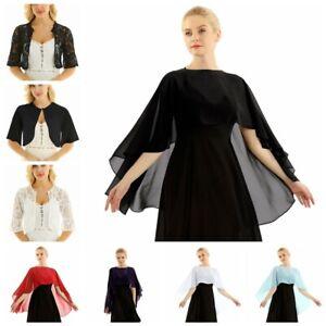 Womens-Lace-Cropped-Evening-Shrug-Bolero-Top-Cardigan-Jacket-Shawl-Capes-Wraps