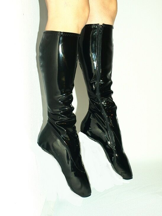 schwarz OR rot PATENT PATENT PATENT LEATHER BALLET Stiefel Größe 10-16 HEEL-0'- PRODUCER OF POLAND b52ae0