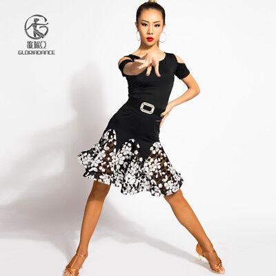 Latin Skirt Dance Dress Tango Ballroom Competition Practice Women Square Flare