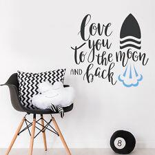 Moon & Back Quote Love Kids Rocket Wall Sticker Baby Nursery Idea Decal Bedroom