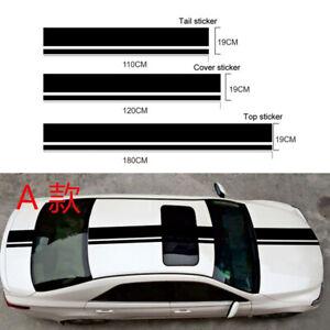 3-Stueck-Streifen-Aufkleber-Auto-Seite-Koerper-Hood-Dekoration-Sticker-DIY-Schwarz