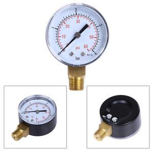 Manometer-1-4-034-Zoll-Anschluss-unten-axial-0-4-bar-0-60-PSI-fuer-Wasser-Ol-Luft