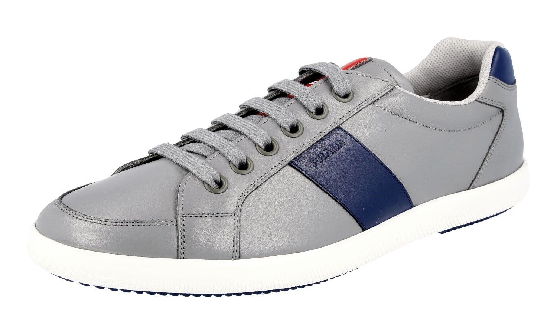 LUXUS PRADA PRADA PRADA SNEAKER Zapatos 4E2845 GRAU BLAU NEU NEW 9 43 43,5 4be681