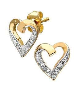 Women-039-s-9-ct-yellow-Gold-Diamond-Heart-Earrings
