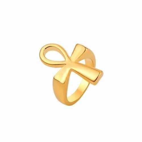 Collare Ankh Anillo De Acero Inoxidable para Hombres Color Dorado//Negro llaves De Cruz Ankh Egipcia O