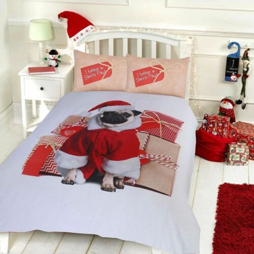 Xmas Duvet Cover Bedding Set Father Christmas Tree Santa Claus Reindeer Snowman