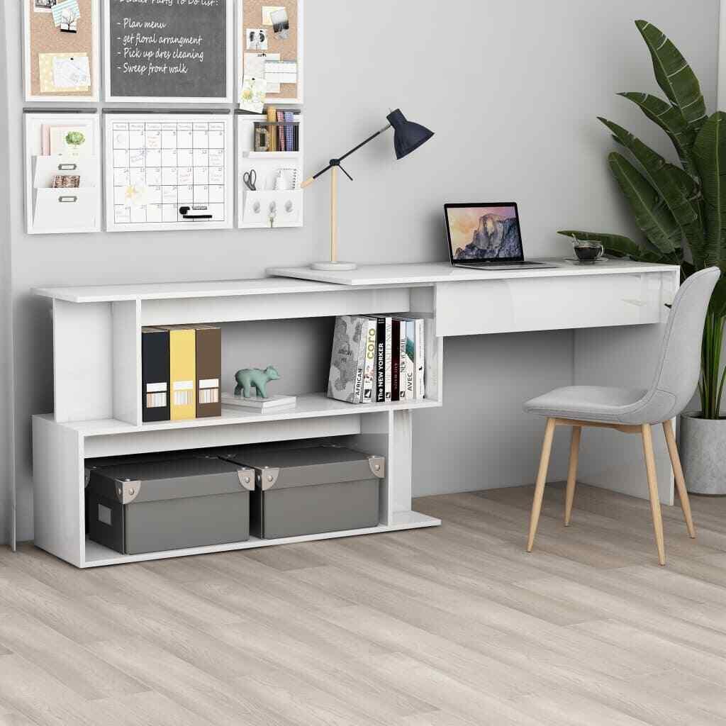 vidaXL Escritorio Esquinero Aglomerado Blanco Brillante Mesa Mueble de Oficina
