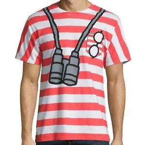 New-Where-039-s-Waldo-Mens-Adult-Unisex-S-M-L-XL-2XL-Striped-Cosplay-Costume-Shirt