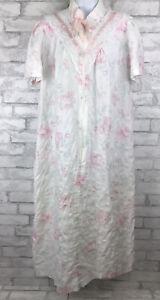 Vintage Katz White Pink Seersucker Floral House Dress Coat Zip Women's Size L/XL
