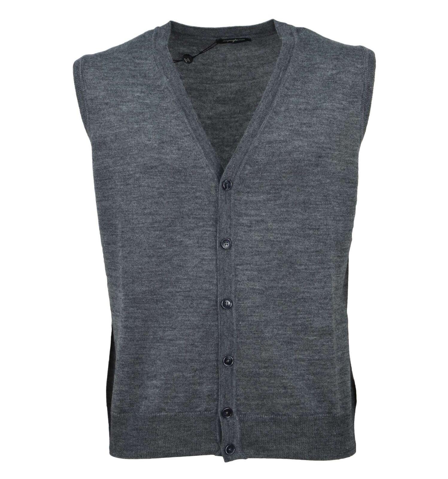 ACQUAPURA uomo gilet cardigan misto lana lana lana merino grigio 41035 515 894dea
