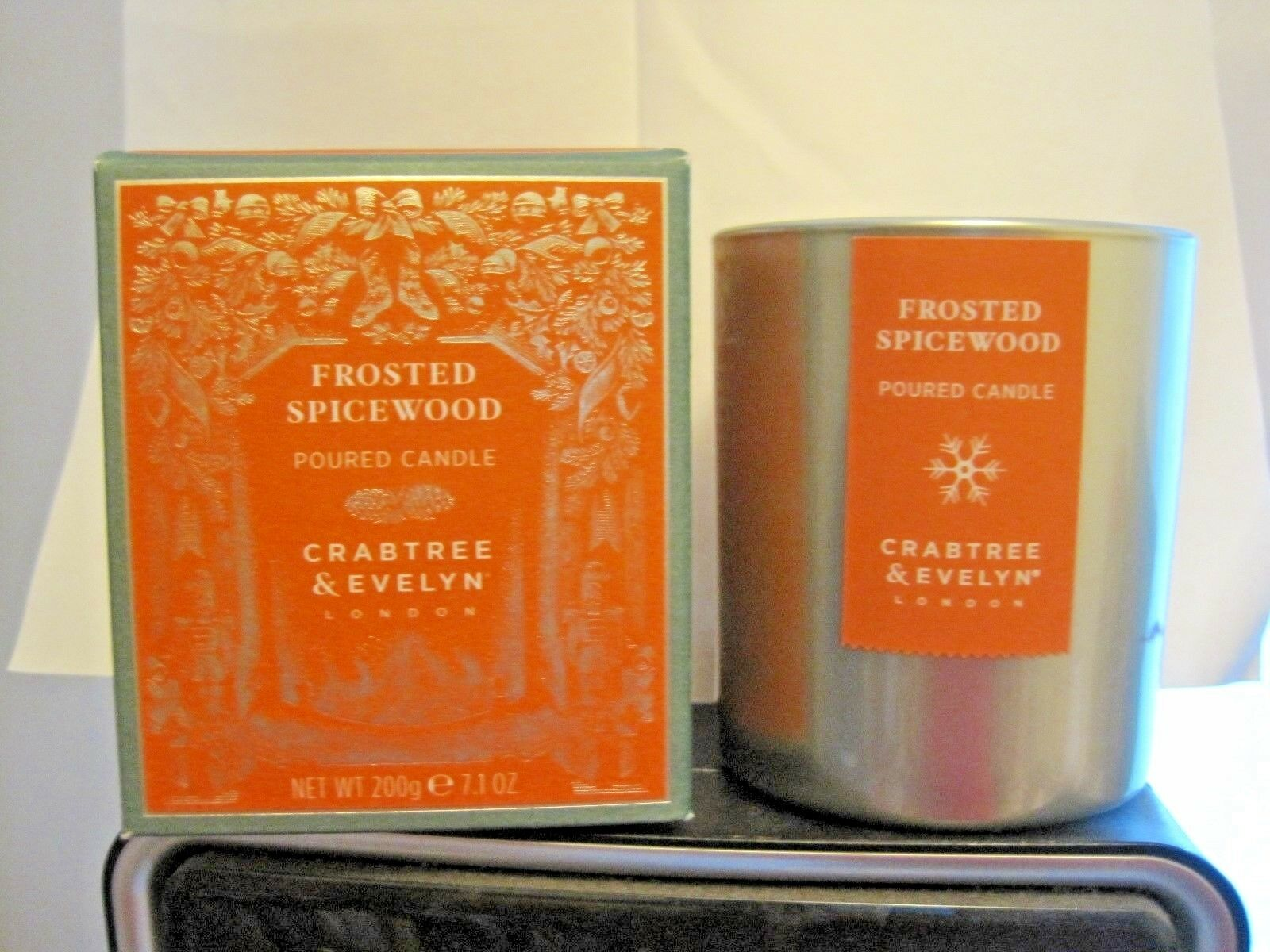 Crabtree & Evelyn FROSTED SPICEWOOD  Candle Glass holderNew In Box 7.1  oz