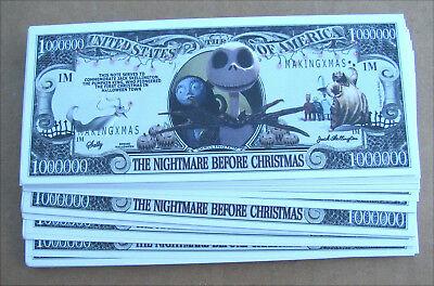 LOT OF 10 Nightmare Before Christmas MONEY FAKE  WHOLESALE LOT  MILLION BILLS