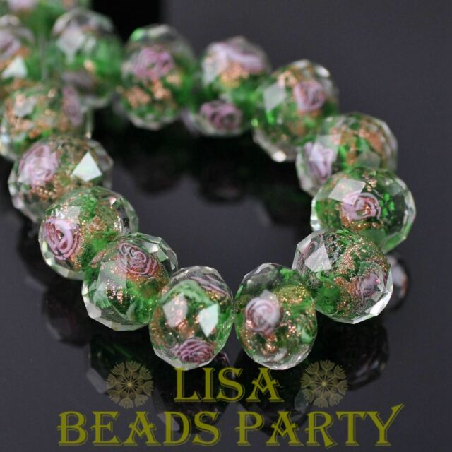 10pcs 9x12mm Flowers Crystal Faceted Rondelle Lampwork Glass Loose Beads Green