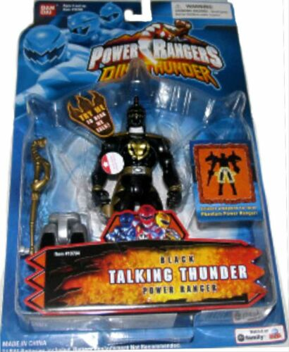 """Power Rangers Dino Thunder BLACK Ranger Talking New 5/"""" Factory Sealed 2003"""