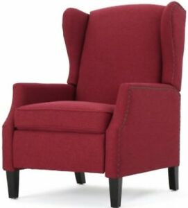 Image Is Loading Deep Red Wingback Accent Club Recliner Chairs Armchair